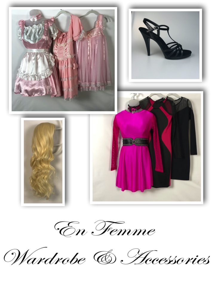 NYC Dominatrix Lady Victoria's crossdressing wardrobe and accessories. FemDom mistress for sissy training and crossdressing.